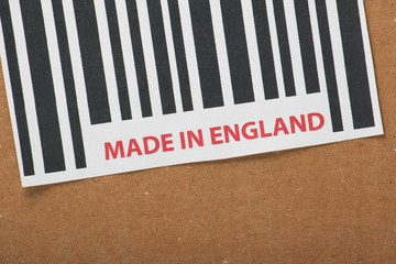 Barcode label with the words Made in England