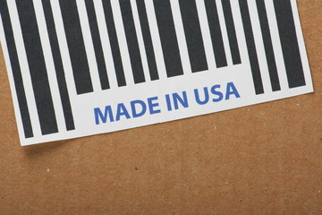 Barcode label with the words Made in USA