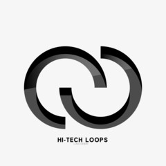 Black loops abstract symbol, logo
