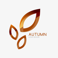 Vector autumn leaf logo, minimal design