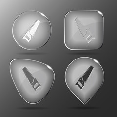 Hand saw. Glass buttons. Vector illustration.