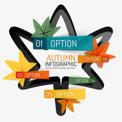 Autumn option infographic, banner minimal design