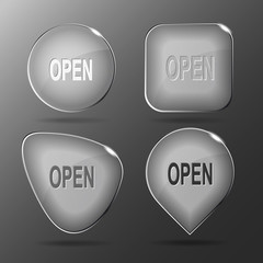 Open. Glass buttons. Vector illustration.