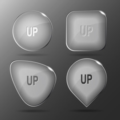 Up. Glass buttons. Vector illustration.