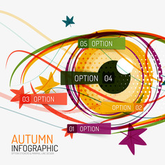 Autumn option infographics and human eye