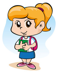 Child student holding book with backpack