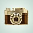Retro styled image of a vintage photo camera