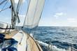 Leinwanddruck Bild - Yacht sail in the Atlantic ocean at sunny day cruise