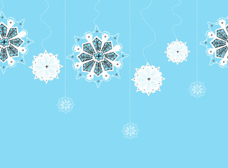 Hand-drawn snowflakes on seamless vertical string