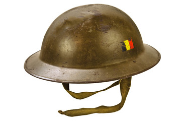 World War One helmet isolated on white