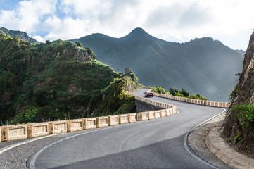 Mountain roads to wild beach. Tenerife.