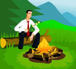 Relaxing businessman near campfire