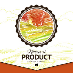 Vector watercolor styled drawing natural product label