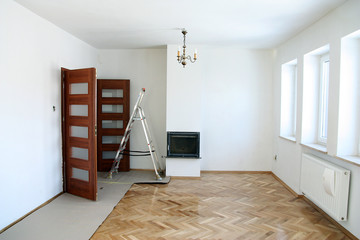 Painting of an empty room. Renovation house