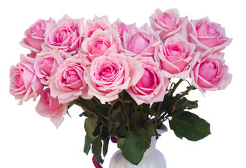 bouquet of fresh pink roses close up