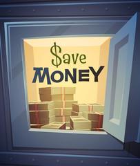 Save money card \ poster design. Vector illustration.