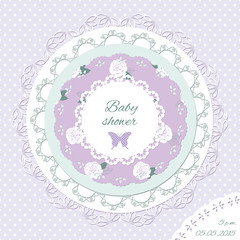 Baby shower invitation template. Scrapbook design elements.