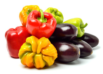 Sweet peppers and aubergines
