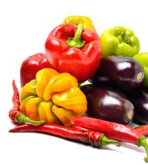 Sweet pepper, aubergine, chilli pepper