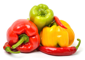 Sweet peppers, chili peppers