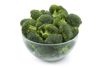 broccoli on bowl isolated