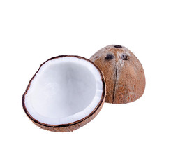 Isolated cut of peeled coconut