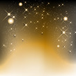 Golden christmas background with stars and shines