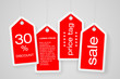 Set of four price tags with sample text
