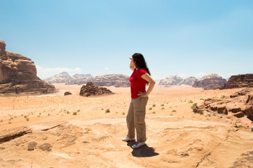 Woman looking at mountains