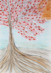 Beautiful tree with red leaves and the rising sun, drawing, past