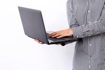 Closeup portrait of a man using laptop