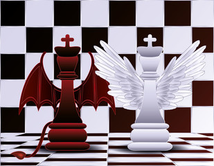 Chess King angel and devil  vector illustration