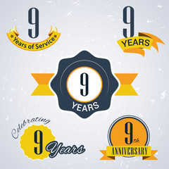 Retro vector stamp celebrating, 9 years of service,Anniversary