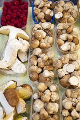 Fresh porcini and raspberries on market stall