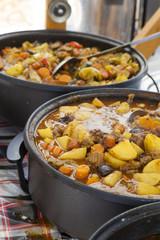 Stir Traditional stew,  farm-style