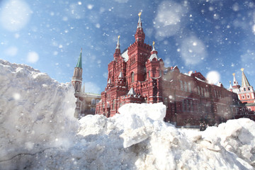 drifts of snow on Red Square in Moscow, snow, storm