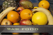 Fresh organic fruit on sunny market stall