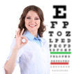 Medicine and vision concept - woman with eye chart
