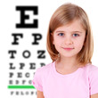 Medicine and vision concept - little girl with eye chart