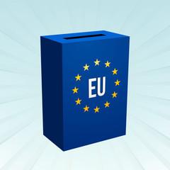 blue box with the motif of EU