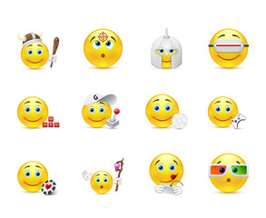 vector set of smiles in the games category