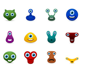 Vector set of funny monsters emoticon