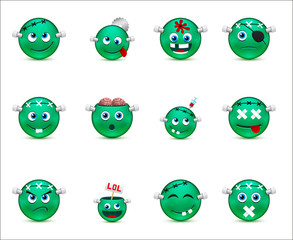 series of green smilies-style zombies