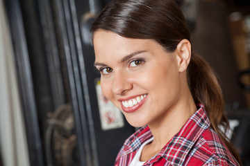 Beautiful Supervisor Smiling In Workshop