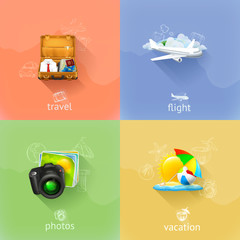 Travel concepts, vector set