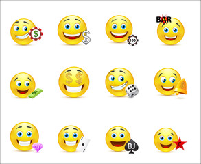 Vector illustration of a set of emoticons with money signs