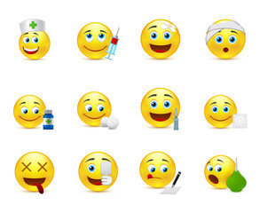 Funny vector smileys set to the medical thematics
