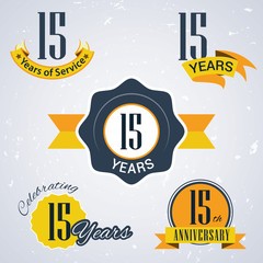 Retro vector stamp celebrating, 15 years of service,Anniversary