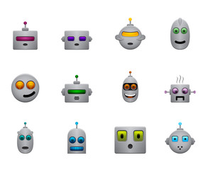 funny retro robots smilies set with colour faces