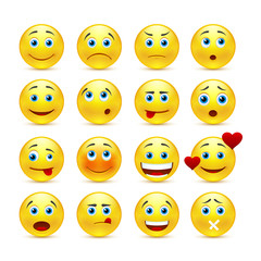 Collection of vector smilies with different emotions